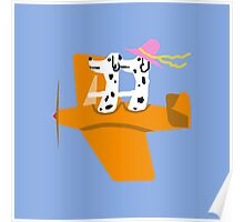 Airplane and Dalmatians  Blue Poster