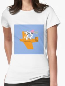 Airplane and Dalmatians  Blue Womens Fitted T-Shirt