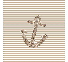 Gold Stripes Nautical Anchor Photographic Print