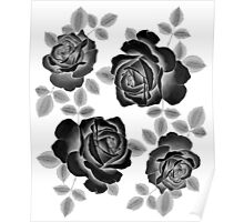 Black Realistic Roses Poster