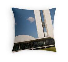 brazilian congress in a blue day sky Throw Pillow