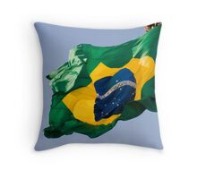 brazil official flag in the wind Throw Pillow