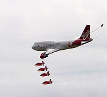 Virgin 747 escorted by the red arrows by Keith Larby