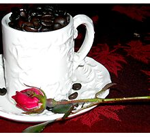 Coffee and Rose Photographic Print