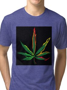 Crazy Marijuana Leaves Tri-blend T-Shirt