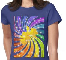 Exotic Flower on Rainbow Spiral Womens Fitted T-Shirt
