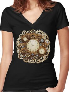 Steampunk Vintage Style Clocks and Gears Women's Fitted V-Neck T-Shirt
