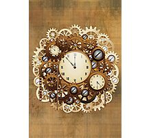 Steampunk Vintage Style Clocks and Gears Photographic Print