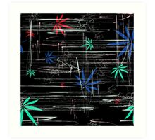 Colorful Marijuana Leaves and Scratches Art Print