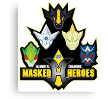 Elemental Changing Masked Heroes. Canvas Print