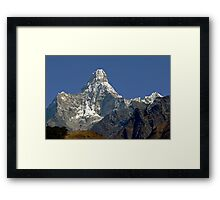 Ama Dablam and rescue helicopter above Namche Bazaar Framed Print