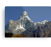 Ama Dablam and rescue helicopter above Namche Bazaar Metal Print