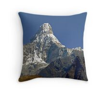 Ama Dablam and rescue helicopter above Namche Bazaar Throw Pillow