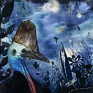 Midnight Cassowary & Fireflies by Lesley Smitheringale