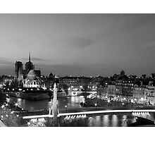 Notre Dame and La Seine by Night Photographic Print