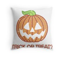 Printed Rhinestone Jackolantern Pumpkin Throw Pillow
