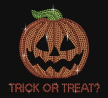 Pumpkin Printed Rhinestone Trick or Treat Jackolantern Tshirt by littlegems