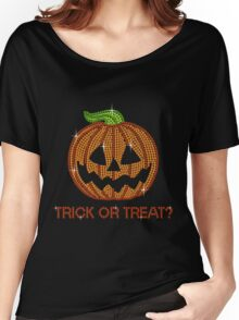 Pumpkin Printed Rhinestone Trick or Treat Jackolantern Tshirt Women's Relaxed Fit T-Shirt