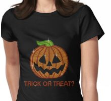 Pumpkin Printed Rhinestone Trick or Treat Jackolantern Tshirt Womens Fitted T-Shirt