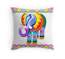 Elephant Rainbow Colors Patchwork Throw Pillow