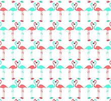 Elegant coral teal cute flaming pattern by Maria Fernandes