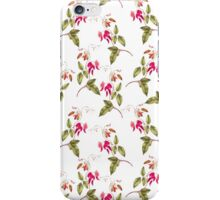 Vintage pretty pink green floral pattern iPhone Case/Skin