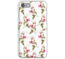 Vintage pretty pink green floral pattern iPhone Case/Skin