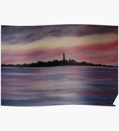 """""""Scattery Island - October Sunset"""" - Oil Painting Poster"""