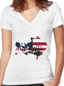Patriotic Peony Women's Fitted V-Neck T-Shirt