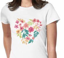 Flower Heart Womens Fitted T-Shirt