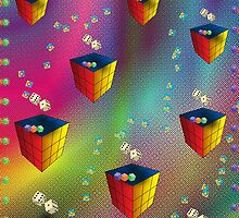 Rainbow Dice and squares by Designer1562
