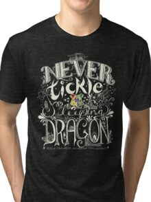 Never Tickle a Sleeping Dragon (Color, Light) Tri-blend T-Shirt