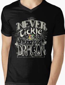 Never Tickle a Sleeping Dragon (Color, Light) Mens V-Neck T-Shirt
