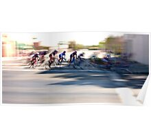 Women cyclists Racing into the Turn Poster