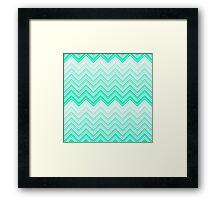 Trendy Aqua Teal Gradient Chevron Zigzag Pattern Framed Print