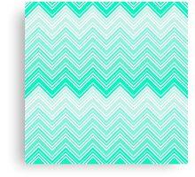 Trendy Aqua Teal Gradient Chevron Zigzag Pattern Canvas Print