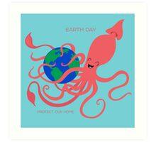Earth Day Squid Art Print