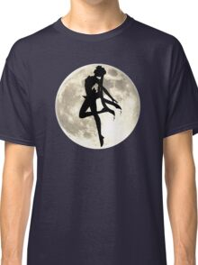Sailor Moon Silhouette in front of Realistic Moon Classic T-Shirt