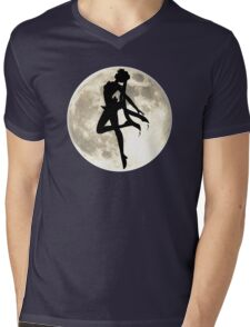 Sailor Moon Silhouette in front of Realistic Moon Mens V-Neck T-Shirt