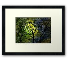 Winter Trees Yellow Green Watercolors Framed Print