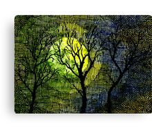 Winter Trees Yellow Green Watercolors Canvas Print