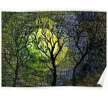 Winter Trees Yellow Green Watercolors Poster