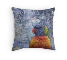 Rainbow Lorikeet & Egrets Throw Pillow