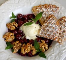 Potatoe Waffles And Cherries with Maple Nuts by SmoothBreeze7