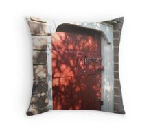 Shadowy Red Door Throw Pillow