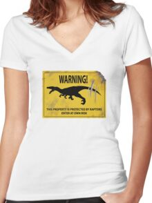 Damaged Raptor Warning Sign Women's Fitted V-Neck T-Shirt