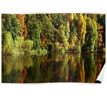 Autumn Water Reflections - New Lanark Scotland Poster