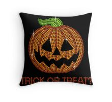 Printed Sparkly Rhinestone Jackolantern Pumpkin Throw Pillow