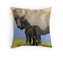 mother and foal Throw Pillow