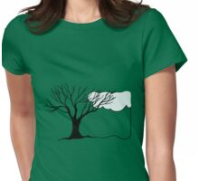 Simple Tree and Cloud Drawing Womens Fitted T-Shirt